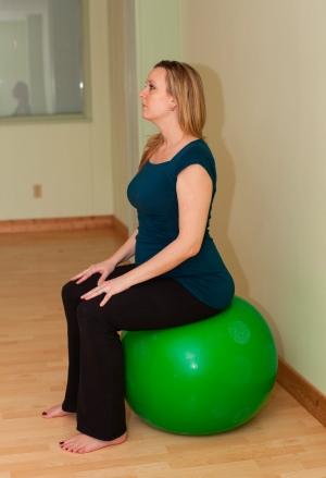 Pelvic tilt on ball prenatal yoga convex