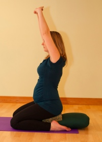hero pose prenatal yoga arms